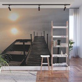 Foggy Adirondack Dawn: Sun, Boat, and Dock Wall Mural