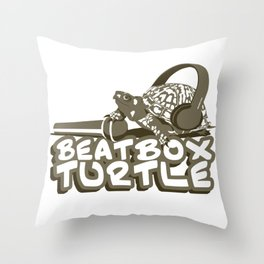 BeatBoxTurtle Throw Pillow
