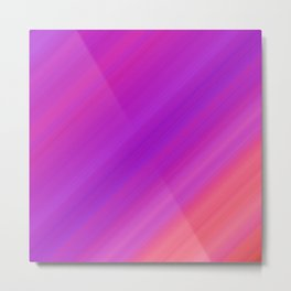 Orange & Purple Diagonal Stripes | Bright gradient pattern Metal Print