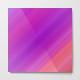 Orange & Purple Diagonal Stripes | Bright gradient pattern Metal Print