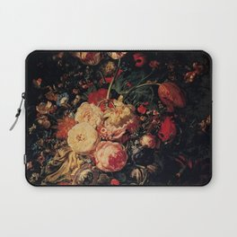 Rachel Ruysch - Flowers in a glass vase, with pomegranites, on a marble balustrade Laptop Sleeve