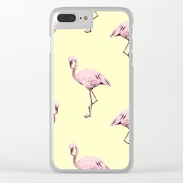 Flamingos in Flamingo Pink on Pale Yellow Clear iPhone Case