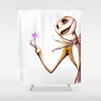 jack skellington Shower Curtains featuring Jack Skellington by Leanne Engel