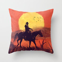 Red dead cowboy sunset  Throw Pillow