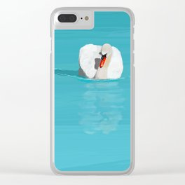 White Swan Blue Lake Clear iPhone Case