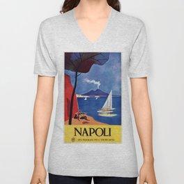 Napels Italy retro vintage travel ad Unisex V-Neck