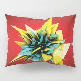 Yellow-Teal Shards Flower Pillow Sham