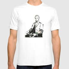 Inked Lincoln White MEDIUM Mens Fitted Tee