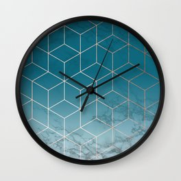 Gold Geometric Cubes Teal Marble Deco Design Wall Clock