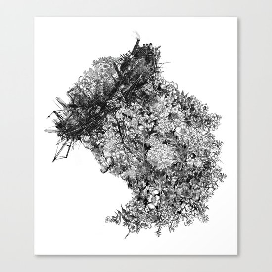 nature sacrifice-black and white portrait Canvas Print