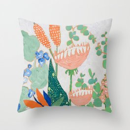 Proteas and Birds of Paradise Painting Throw Pillow