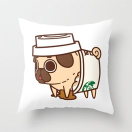 Puglie Pugkin Spice Latte Throw Pillow