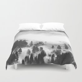 Modern Minimalist Landscape Photo Foggy Mountain Valley Pine Trees Black And White Photo Duvet Cover