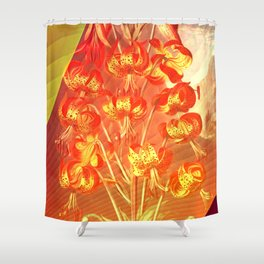 Floreal - Tropical Orange Lily Flowers Surrealism Shower Curtain