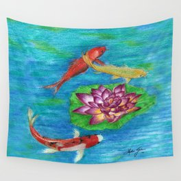 Orange Koi Wall Tapestry