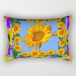 PURPLE YELLOW SUNFLOWERS STORY BOOK MODERN ART Rectangular Pillow