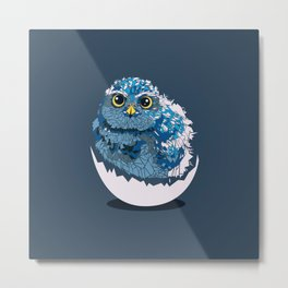 Low-poly Baby Owl Metal Print