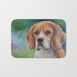 BEAGLE Cute Dog portrait oil painting on canvas Decor for Pet lover Green background Bath Mat
