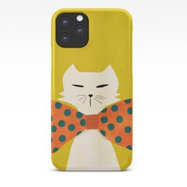 Cat with incredebly oversized humongous bowtie iPhone Case
