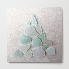 Sea Foam Sea Glass Christmas Tree Metal Print