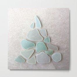 Sea Foam Sea Glass Christmas Tree #Christmas #seaglass Metal Print