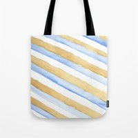stripe Tote Bags featuring Stripe by Louise Kjeldsen