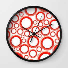 Red Cicles 01 Wall Clock