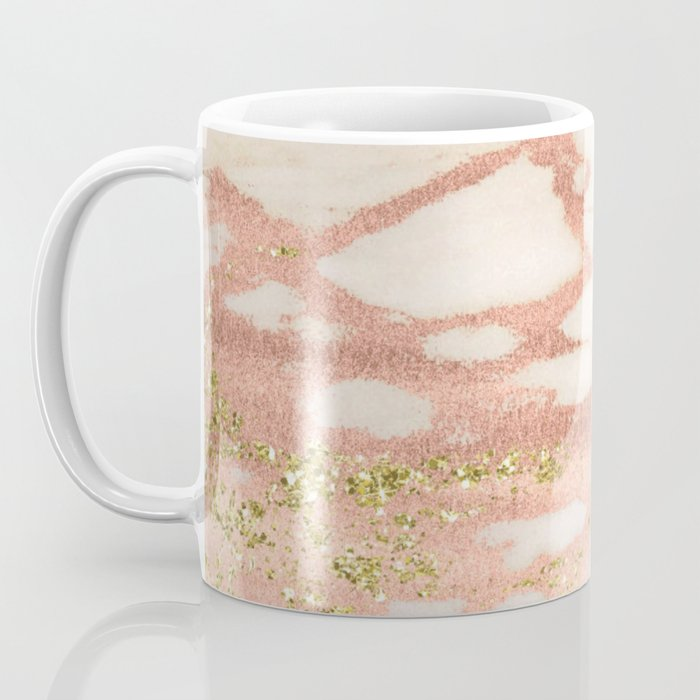 Marble - Rose Gold Shimmer Marble with Yellow Gold Glitter Coffee Mug