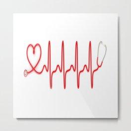 Ekg Heart Stethoscope Metal Print