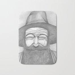 Bearded Man in Hat Bath Mat