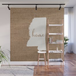 Mississippi is Home - White on Burlap Wall Mural