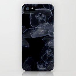 Vintage Retro Pop Art Jellyfish Aqua Ocean Beach Transparent Monochrome Art Under Sea Wall Art Print iPhone Case