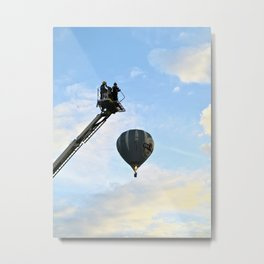 Firemen on their hoist at the Tall Ships Race Waterford 2011 Metal Print
