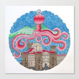 Christmas Ball Octopus Canvas Print