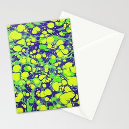 navy blue and green coloured marbling art Stationery Cards