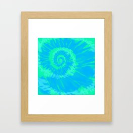 Tie dye neon blue Framed Art Print