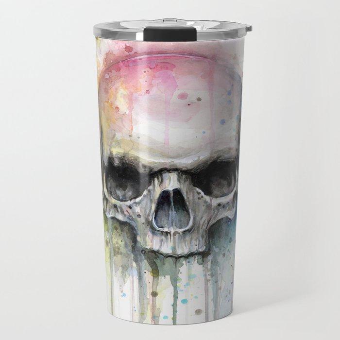 Skull Rainbow Watercolor Painting Skulls Travel Mug