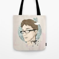 contact Tote Bags featuring Contact by Ann Van Haeken