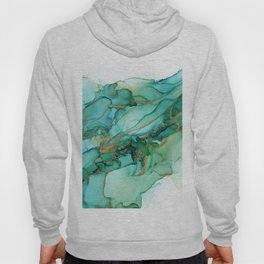 Emerald Gold Waves Abstract Ink Hoody