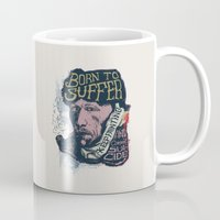 van gogh Mugs featuring Van Gogh Typography Drawing by Bacht