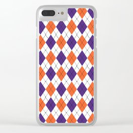 Argyle orange and purple pattern clemson football college university alumni varsity team fan Clear iPhone Case
