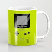 gameboy Mugs featuring Gameboy Color - Green by katy-makes-things