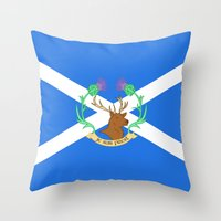 outlander Throw Pillows featuring Clan Fraser by CaptainSunshine