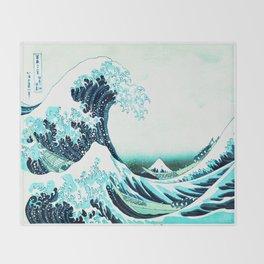 the great wave : aqua teal Throw Blanket