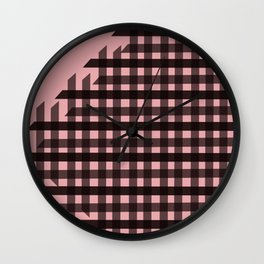 Gingham: Pink Wall Clock