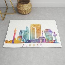 Jeddah skyline landmarks in watercolor Rug