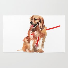 watercolor dog vol 17 golden retriever Rug
