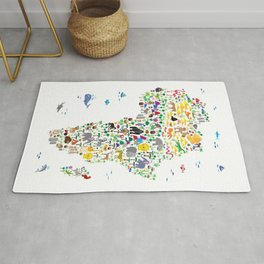 Animal Map of Africa for children and kids Rug