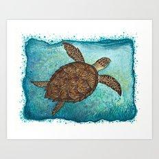 Hawksbill Sea Turtle ~ Watercolor Art Print