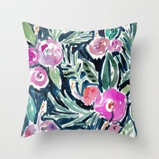 NIGHT TIME IN THE JUNGLE Tropical Hibiscus Palm Throw Pillow